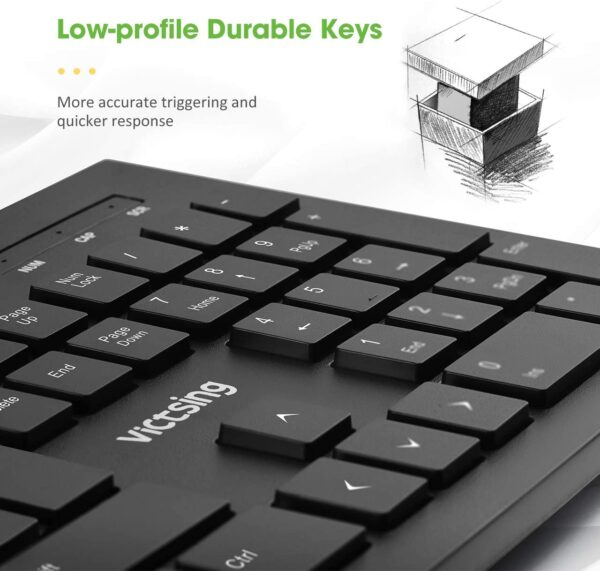 VicTsing USB Keyboard Wired【Comfortable & Durable】 Full Size Keyboard with 105 Chiclet Keys Quick Responsive, Plug and Play for Laptop, PC, Computer Windows Mac etc. - UK Layout, Black