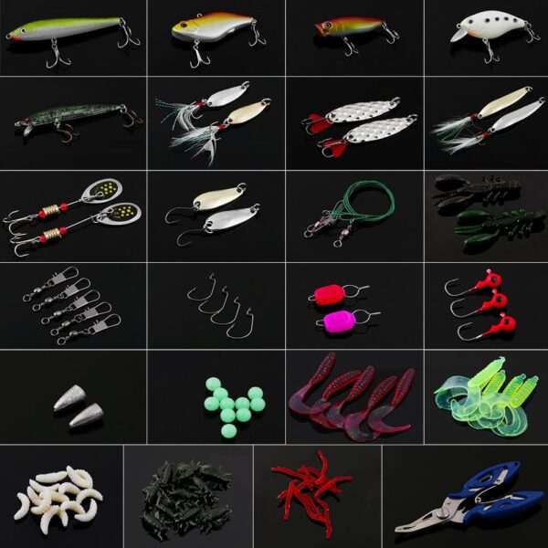Vicloon 120 PCS Fishing Lures Mixed Including Spinners,VIB,Treble Hooks,Single Hooks,Swivels,Pliers,Leaders