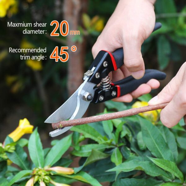 LeaderPro Pruning Shears and Secateurs, Aluminium Garden Hand Bypass Pruners, Sharp Pruning Scissors/Gardening Tool, With Spare Spring and Blade, Ergonomic Comfort, Black