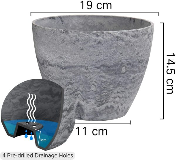 La Jolíe Muse Flower Pot Large Garden Planters 19CM Pack 2 Outdoor Indoor, Outdoor Planters with Drain Hole (Marble) Grey