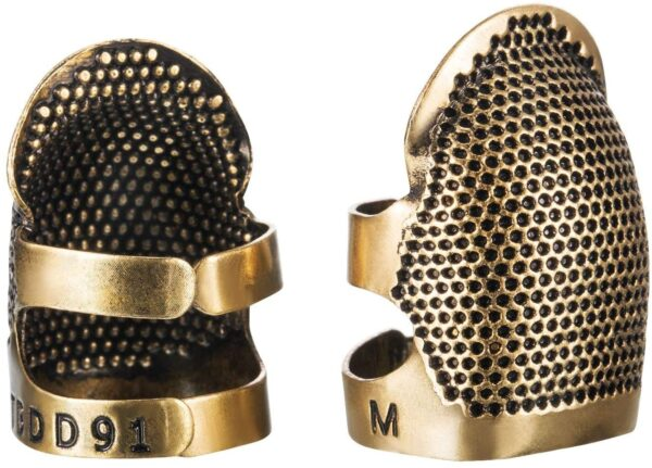 Sewing Tool kit, 2 Pieces Sewing Thimble Finger Protector Copper Adjustable Finger Protector