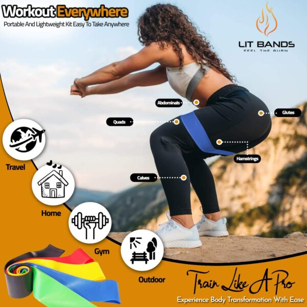 LITBANDS Exercise Resistance Bands Set with handles For Men And Women - Stackable Up To 150 LBS / 68 KG Fitness Workout Tubes With 5 Loop Bands, Complete 16 Piece Set For Home Gym And Outdoor Sports