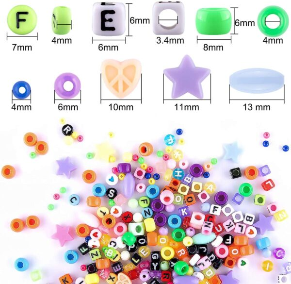 Duufin 1500 Pcs Beads for Jewelry Making Pony Beads Rainbow Pop Beads Heart Beads with 8 Roll Colourful Strings 1 Roll Clear String 2 Pcs Tweezers and 1 Pair Scissors for DIY Craft