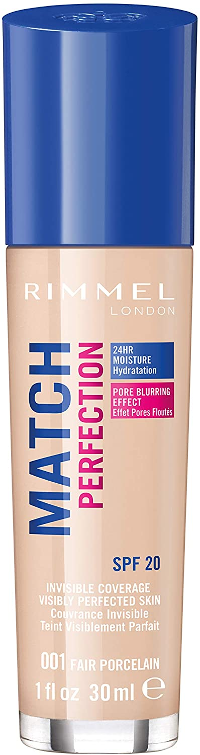 Rimmel London Match Perfection Liquid Foundation, Hydrated And Radiant glowing Effect With Smart-Tone Technology And Spf 20 Formula, 001 Fair Porcelain