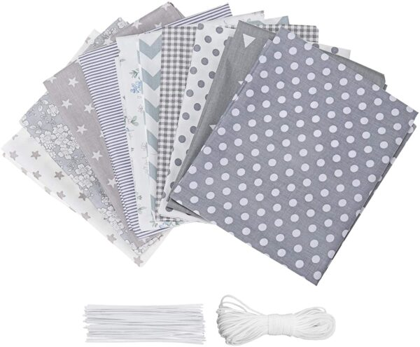 king do way 10pcs Large 60 * 50cm Different Pattern Patchwork Fabric Craft Printed TOP Cotton Material Mixed Bundle Quilting With 10m Cotton Rope and 50pcs Nose Wire Sewing Artcraft Lint DIY Fabric