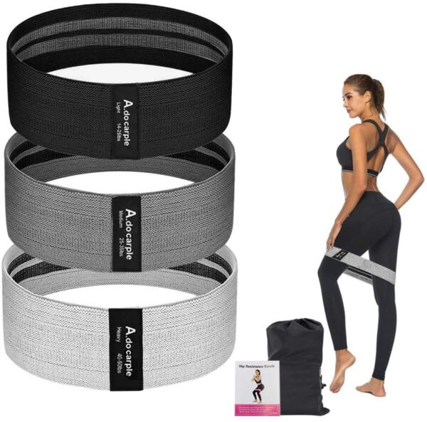 Resistance Bands, 3 Sets Non-Slip Exercise Loop Bands for Glutes, Butt and Legs Exercise, Booty Band for Women and Men 3 Fitness Levels Fabric Resistance Bands for Pilates, Fitness, Workout, Yoga