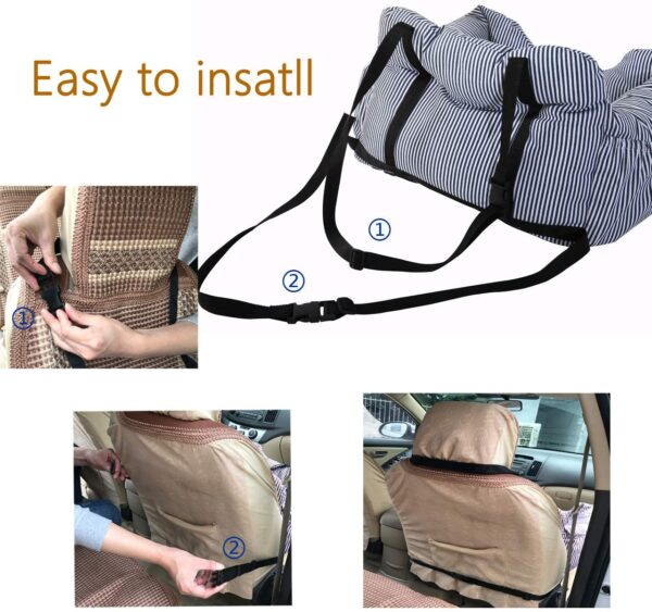 FRISTONE Dog Car Seat, Dog Booster Car Seat Travel Carrier with Clip-on Safety Leash and Storage Pocket Dog Bed Suitable for Puppy, Comfortable and Anti-Slip - Coffee/White