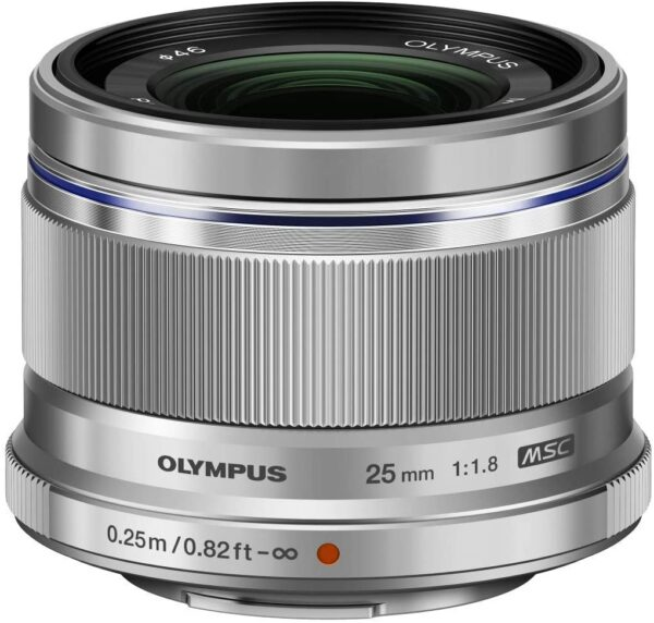 Olympus M.Zuiko Digital 25 mm F1.8 Lens, Fast Fixed Focal Length, Suitable for All MFT Cameras (Olympus OM-D & PEN Models, Panasonic G-Series), Silver