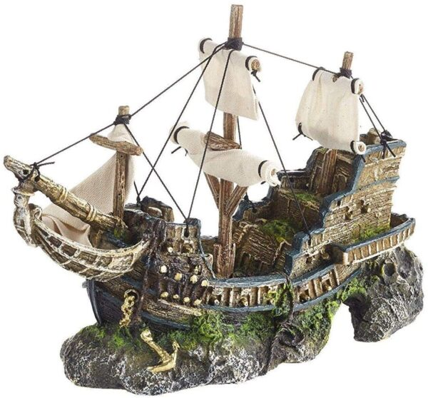 Monster Pet Supplies Classic Polyresin Galleon With Sails, 33 cm,brown