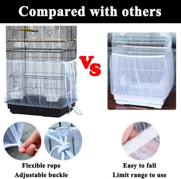 ASOCEA Universal Birdcage Cover Seed Catcher Nylon Mesh Parrot Cage Skirt White (Not Include Birdcage)
