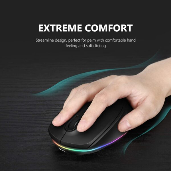 Rechargeable Bluetooth Mouse, Seenda Silent-Click Triple Mode Bluetooth Wireless Mouse( BT5.0/BT3.0/2.4G) for Laptop, PC, Mac, Android Windows 10/8/7, Up to 2400 DPI Adjustable, LED Backlight-Black