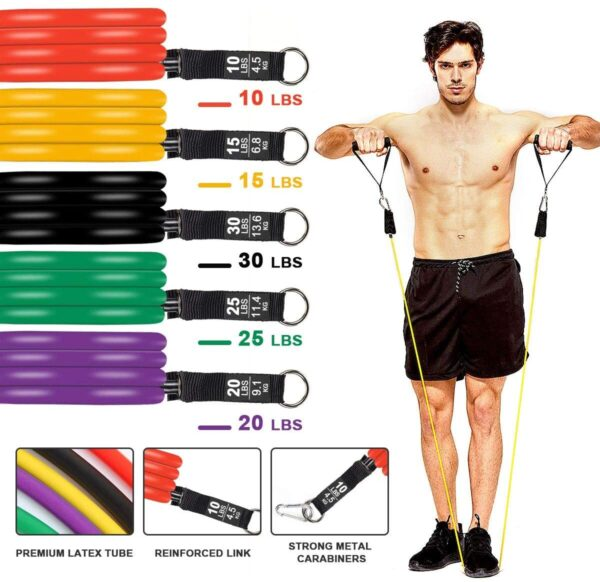 Resistance Bands Set, 11 Pcs Fitness Equipment Set Exercise Bands with Door Anchor, Handles, Storage Bag, Legs Ankle Straps Resistance Tube for Home Workouts, Physical Therapy and Resistance Training