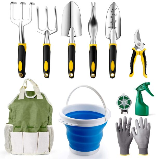 amzdeal Garden Tool Set 11Pieces Chrome-Plated Aluminum Alloy Gardening Tool Kits Indoor and Outdoor Hand Planting Kit with Ergonomic Handle for Women/Men/Gardeners