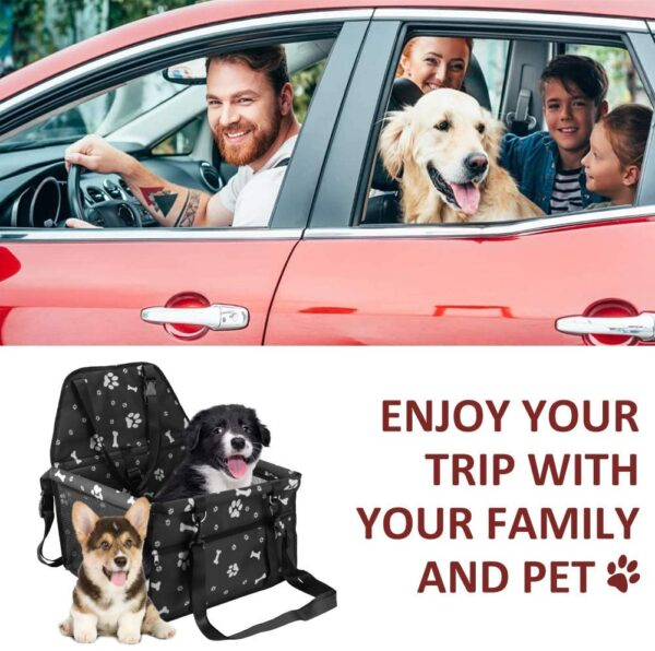 JIOUDI Dog Car Seat Cover with FREE Pet Seat Belt Waterproof Covers (2-in-1) Fold Down Flaps for Full Front Coverage or Small Basket Hammock w/Sturdy Walls | Travel Accessories (White Paw print bone)