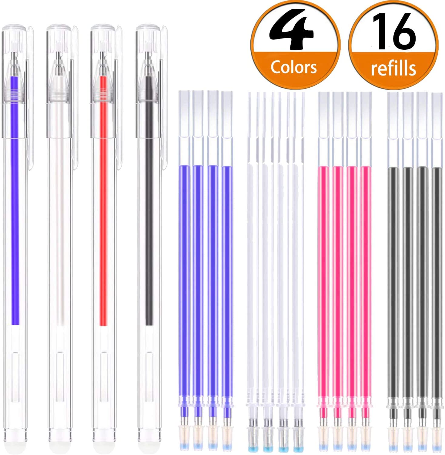 4 Pieces Heat Erase Pens with 40 Heat Erasable Fabric Refills Marking for Sewing Quilting and Dressmaking 4 Colors