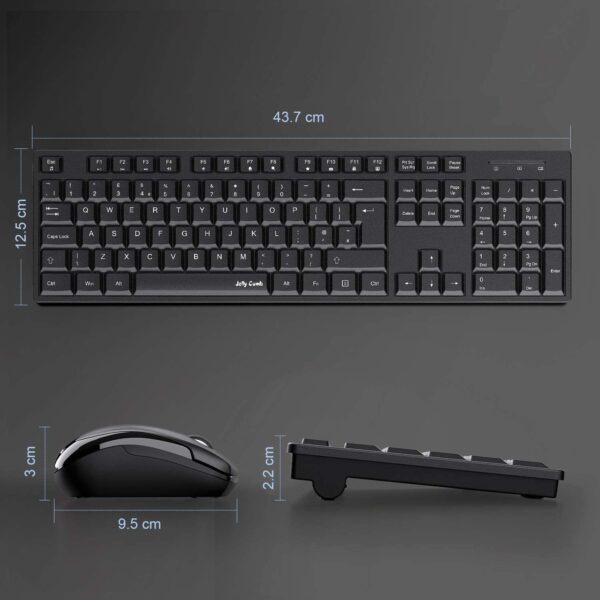 Wireless Keyboard and Mouse Combos, Jelly Comb 2.4G Wireless Keyboard Mouse Full Size with 12 Multi-Media Keys and Auto Sleep for Windows/Computer/PC/Laptop/Desktop-Black