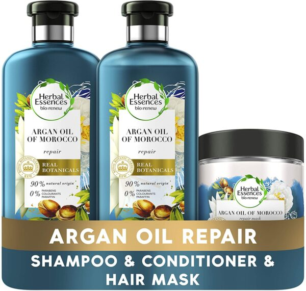Herbal Essences Bio Renew Argan Oil of Morocco Hair RepairTreatment for Dry Damaged Hair, An Argan Oil Shampoo, Conditioner and Hair Mask Set, A Complete Hair Care Routine