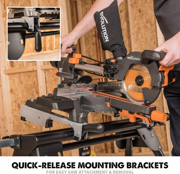 Evolution Power Tools Compact Folding Mitre Saw Stand with Extending Support Arms and Quick Release Clamps, Universal Fits Evolution, Makita, DeWalt, Bosch, Ryobi, Einhell and Metabo