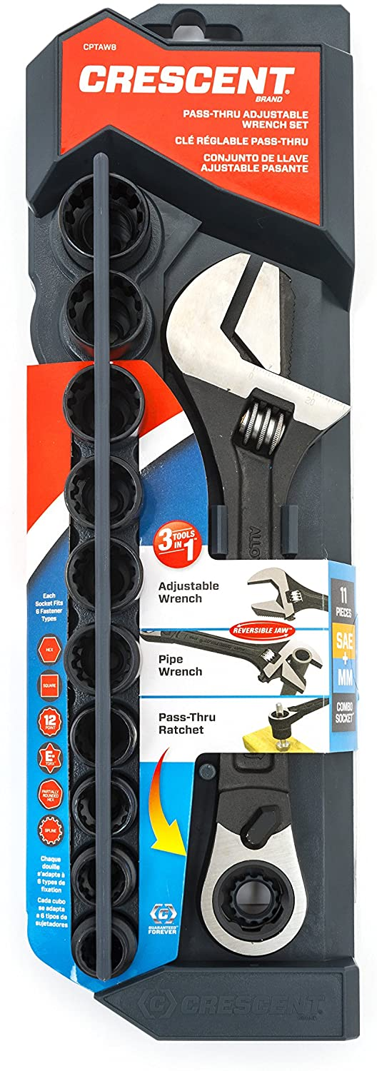Crescent CPTAW8 11 Piece 3-in-1 X6 Pass-Thru Adjustable Wrench/Spanner, Pipe Wrench and Pass-Thru Ratchet with Universal Sockets, Black