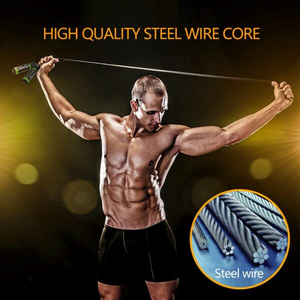 Gritin Skipping Rope, Speed Jump Rope Soft Memory Foam Handle Tangle-free Adjustable Rope & Rapid Ball Bearings Fitness Workouts Fat Burning Exercises Boxing - Spare Rope Length Adjuster Included.