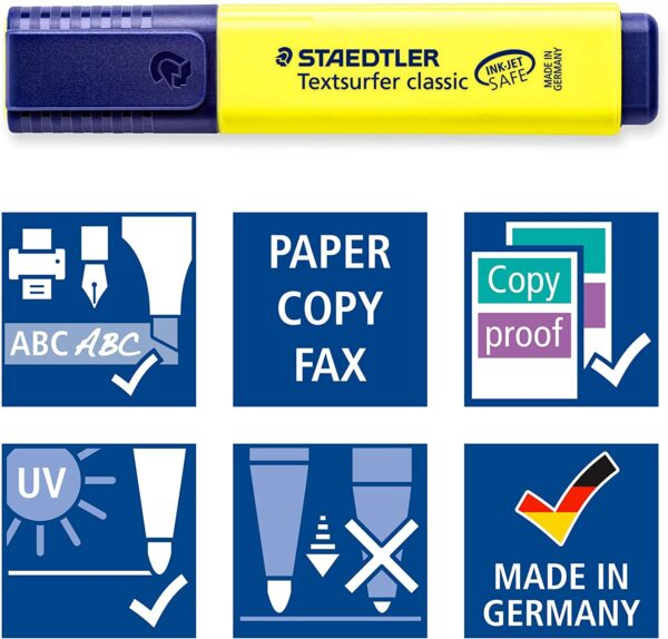 Staedtler Textsurfer Classic 364 Highlighter - Assorted Colours, Pack of 6