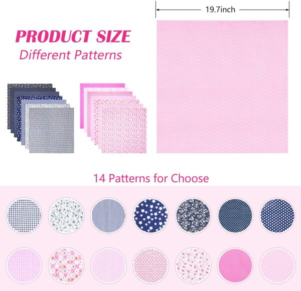 14 Pieces 50 x 50 cm Fabric Bundle Patchwork Cotton Sewing Patchwork Squares Quilting Bundles Different Pattern Cloths for Sewing DIY Art Work Supplies (Nave Blue, Pink)