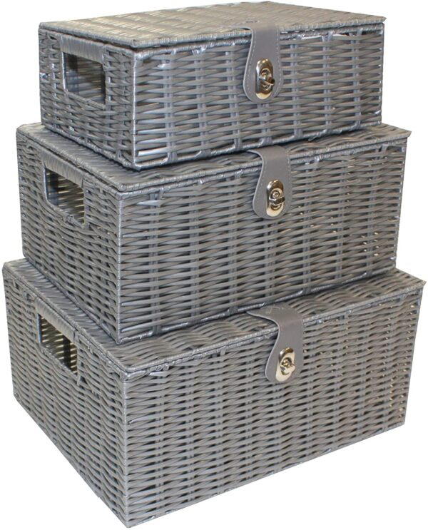 Home-ever Set of 3 Resin Woven Storage Basket Box With Lid (Grey) HE23