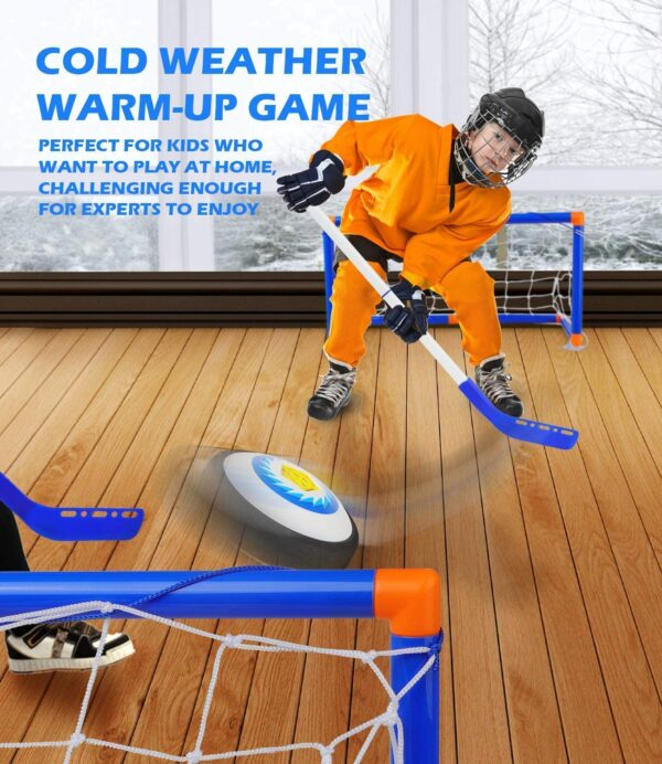 TwobeFit Hover Hockey Set, with 2 Goals Kids Toys - Air Power Training Ball Playing Hockey Game Indoor Outdoor Training Toys Sports for Boys Girls