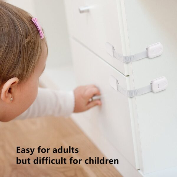 LifenC Adjustable Child Safety Locks, Baby Proof Your Cabinets with No Trapped Fingers, Easy Install, No Tools Needed - 8 Pack