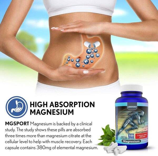High Absorption Magnesium for Leg Cramps and Sore Muscles, Restless Leg Syndrome Relief (RLS), Muscle Relaxer with Vitamin B6, D and E, 380mg Gluten Free, 100 Servings
