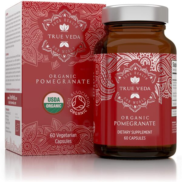 Organic Pomegranate Capsules - Certified Organic by Soil Association | Vegetarian & Vegan Friendly | Ayurveda | 60 Easy Swallow Pomegranate Tablets | Manufactured in The UK