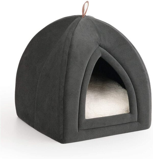 Bedsure Pet Tent Cave Bed for Cats/Small Dogs - 38x38x38cm 2-In-1 Cat Tent/Cat Bed House with Removable Washable Cushion Pillow - Microfiber Indoor Outdoor Pet Beds, Dark Grey