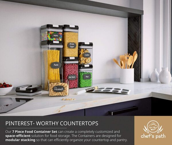 Chef's Path Airtight Food Storage Container Set - Labels & Marker - Kitchen & Pantry Containers - Ideal for Flour, Cereal, Spaghetti, Pasta & more - Clear Plastic Canisters with Durable Lids