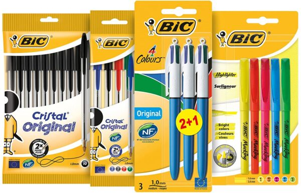 BIC Student Ballpoint Pens, Highlighters and 4 Colour Pens