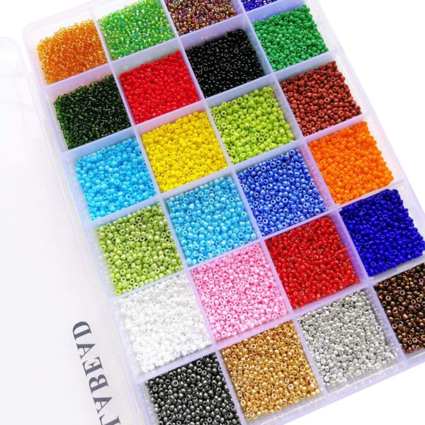 BALABEAD 12/0 Glass Seed Beads About 24000pcs in Box 24 Multicolor Assortment Size 2mm Seed Beads for Jewelry Making (1000pcs/Color, 24 Colors)