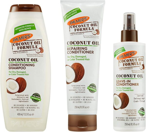 Palmer's Coconut Oil Hair Care Set | Conditioning Shampoo | Repairing Conditioner | Leave-In Conditioner