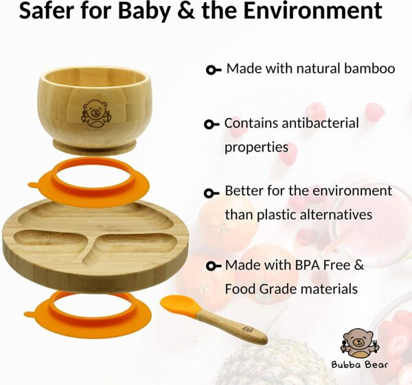 Bubba Bear ® Baby Bamboo Suction Bowl, Plate & Spoon Set | Stay Put Toddler Led Feeding Bowls & Plates | Free Guide to Weaning