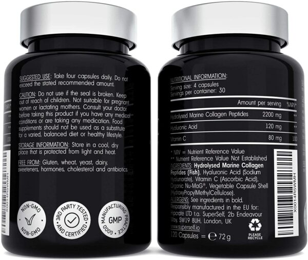 Marine Collagen Supplement 2400mg - 120 Capsules with Hyaluronic Acid and Vitamin C - Premium Type 1 Hydrolysed Collagen Tablets for Women and Men - High Strength Complex for Skin Bones Joints