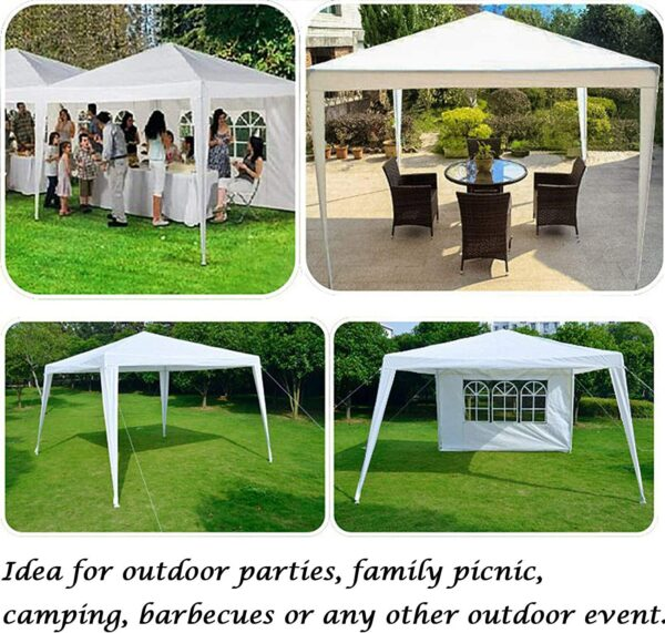 AutoBaBa 3x3m Garden Gazebo Marquee Tent with Side Panels, Fully Waterproof, Powder Coated Steel Frame for Outdoor Wedding Garden Party, White