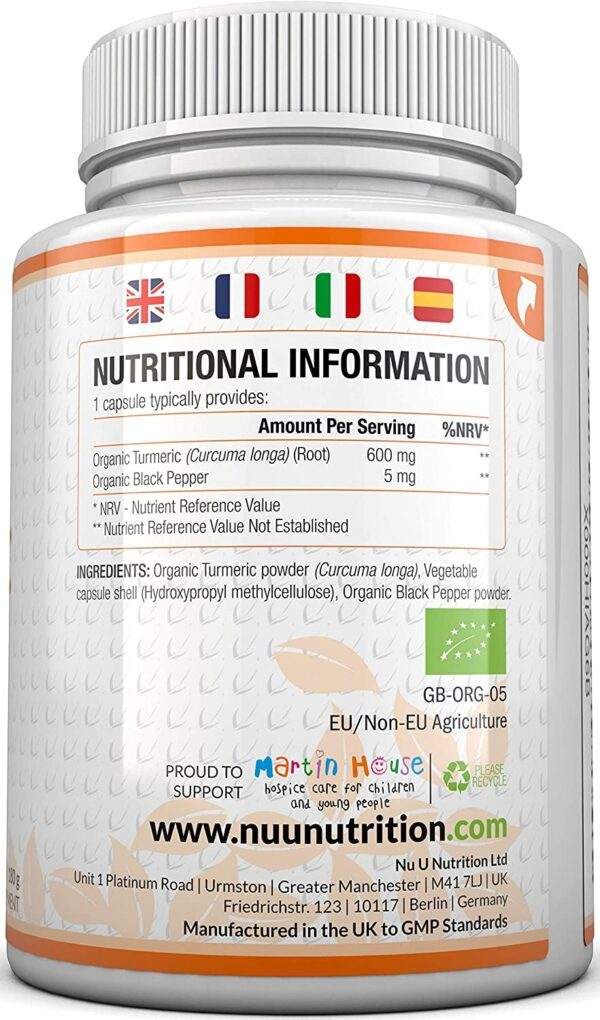Turmeric Curcumin Organic High Strength 600mg, 365 Capsules with Organic Black Pepper | Suitable for Vegetarians & Vegans | Soil Association Certified, Made in The UK by Nu U Nutrition