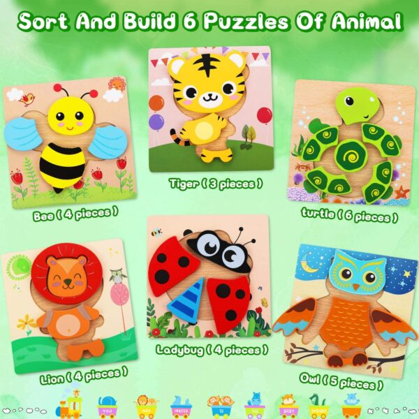 lenbest Wooden Puzzles, 6 Pack Animal Wooden Jigsaw Puzzles Set Educational Montessori Children Puzzle Toys for 3 4 5 Year Olds Kids Toddlers Babies