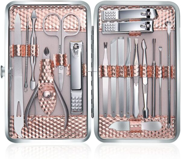 Keiby Citom Manicure Set 18pcs Professional Nail Clippers Kit Pedicure Care Tools-Stainless Steel Grooming Tools With Rose Gold PU Leather Case for Travel & Home (Rose Gold)