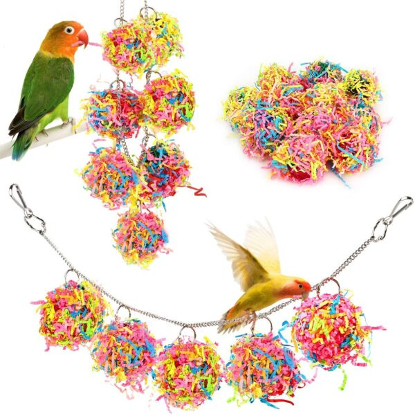 Lewondr Bird Chewing Toys, 10 Packs Bird Parrot Shredder Toy Foraging Hanging Cage Chew Toy Swing with Rings Parrot Foraging Hammock for Cockatiel Conure African Grey Parakeets - Colorful