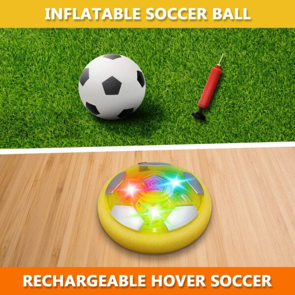 Sillbird Kids Toys Hover Soccer Ball Rechargeable Indoor Outdoor Football with Colorful Led Lights & Foam Bumpers Sports Ball Game for Boys and Girls Age 3+ Years Old