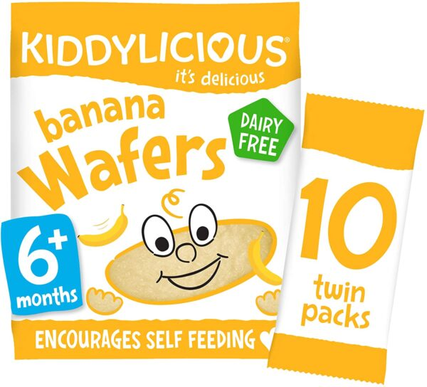 Kiddylicious Banana Wafers | Gluten and Dairy Free Kids Snack | Suitable for 6 Months+ | 4 x 10 Twin Packs 5080210