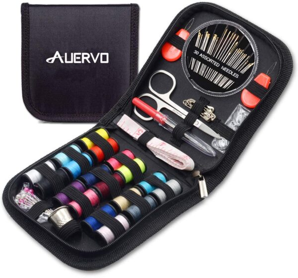 Travel Sewing Kit, AUERVO Over 70 DIY Premium Sewing Supplies,Mini Sewing kit for Home, Travel & Emergency Filled with Mending and Sewing Needles, Scissors, Thimble, Thread,Tape Measure etc