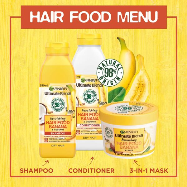 Garnier Ultimate Blends Banana Shampoo For Dry Hair | Banana Hair Food Shampoo by Garnier Ultimate Blends | 98 Percent Natural Origin Ingredients | 350 ml Pack of 6