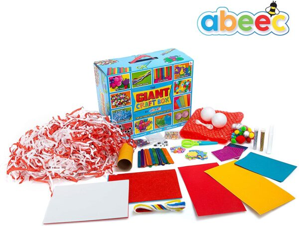 abeec Giant Craft Box - Box of Arts and Crafts Supplies - Containing Lolly Pop Sticks, Googly Eyes, Pipe Cleaners, Tissue Paper, Pom Poms Plus Loads More