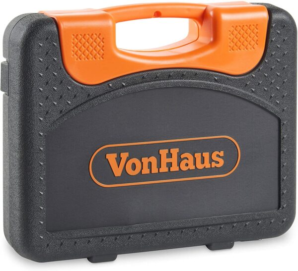 """VonHaus 104-Piece Screwdriver Tool Socket Set ¼ Inch & ½"""" Inch Drive & 6pcs Combination Spanner with Carry Case"""