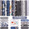 13 Pieces Floral Fat Quarters Quilting Fabric Bundles 20 x 16 Inch/ 50 x 40 cm Cotton Textile Craft Fabric Checked Striped Floral Quilting Patchwork for DIY Scrapbooking Art Craft, Checked Striped